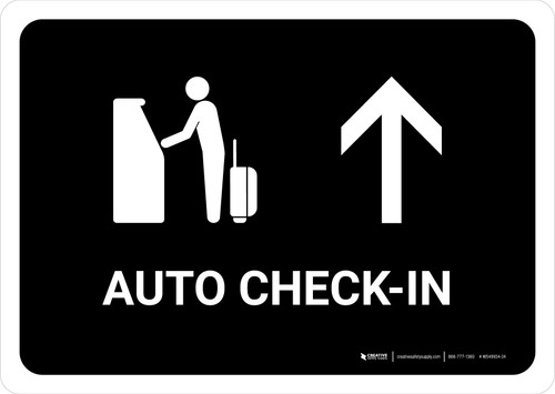 Auto Check In With Up Arrow Black Landscape - Wall Sign