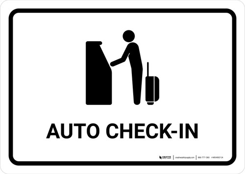 Auto Check In White Landscape - Wall Sign