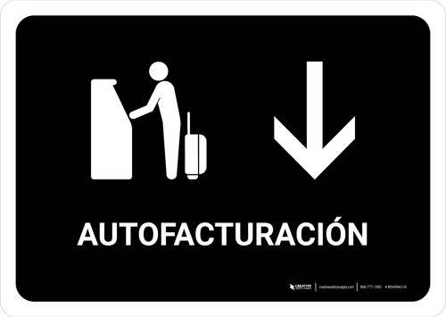 Auto Check In With Down Arrow Black Spanish Landscape - Wall Sign