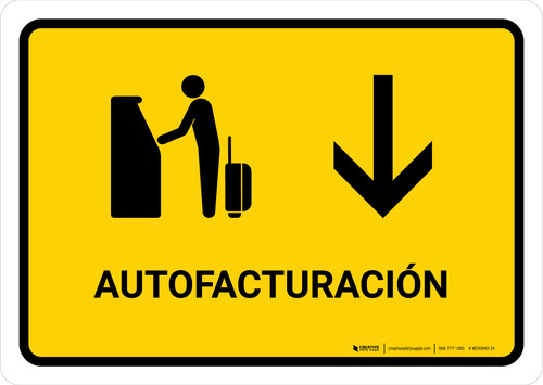 Auto Check In With Down Arrow Yellow Spanish Landscape - Wall Sign