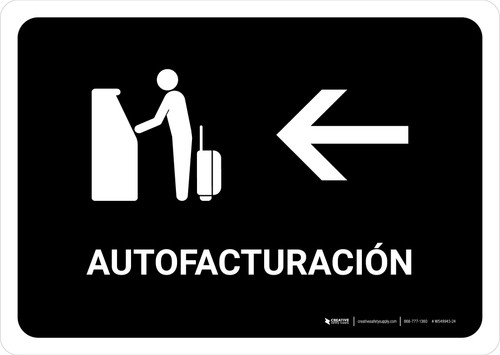 Auto Check In With Left Arrow Black Spanish Landscape - Wall Sign