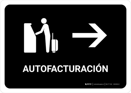 Auto Check In With Right Arrow Black Spanish Landscape - Wall Sign