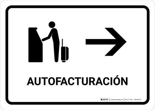 Auto Check In With Right Arrow White Spanish Landscape - Wall Sign