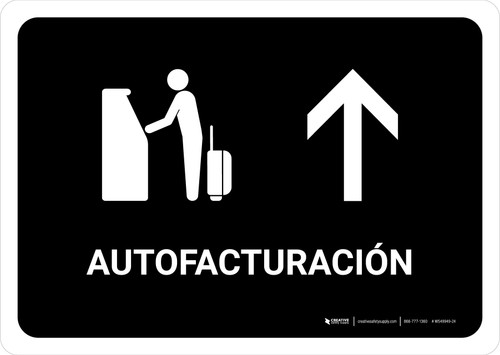 Auto Check In With Up Arrow Black Spanish Landscape - Wall Sign