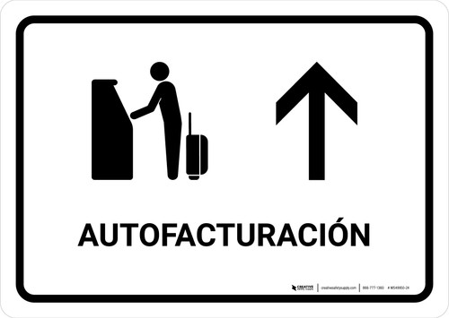 Auto Check In With Up Arrow White Spanish Landscape - Wall Sign