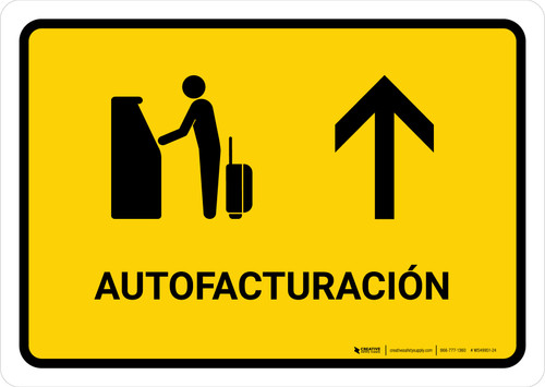 Auto Check In With Up Arrow Yellow Spanish Landscape - Wall Sign