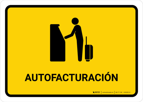 Auto Check In Yellow Spanish Landscape - Wall Sign