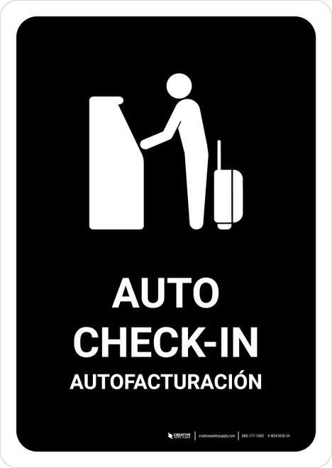 Auto Check In Black Bilingual Portrait - Wall Sign