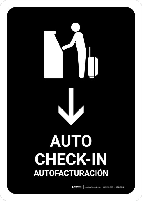 Auto Check In With Down Arrow Black Bilingual Portrait - Wall Sign