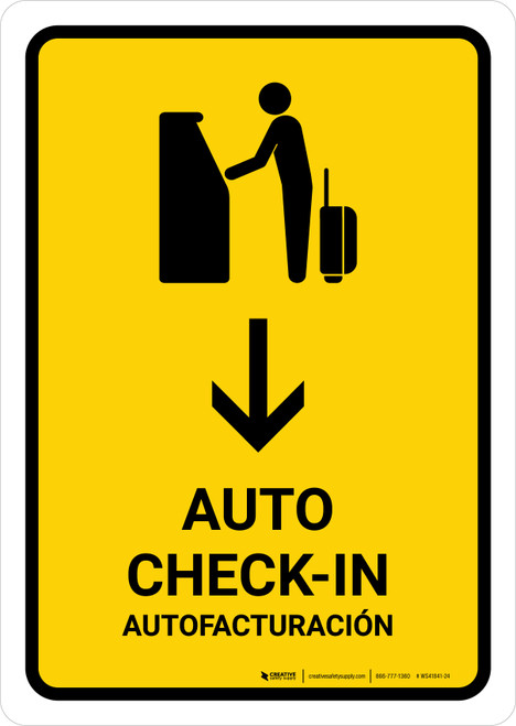 Auto Check In With Down Arrow Yellow Bilingual Portrait - Wall Sign