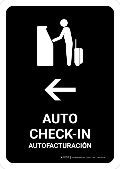 Auto Check In With Left Arrow Black Bilingual Portrait - Wall Sign