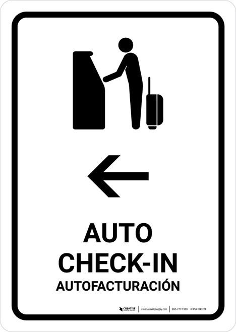 Auto Check In With Left Arrow White Bilingual Portrait - Wall Sign