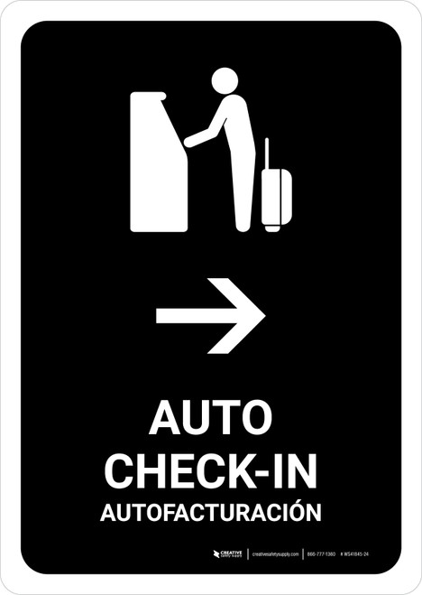 Auto Check In With Right Arrow Black Bilingual Portrait - Wall Sign