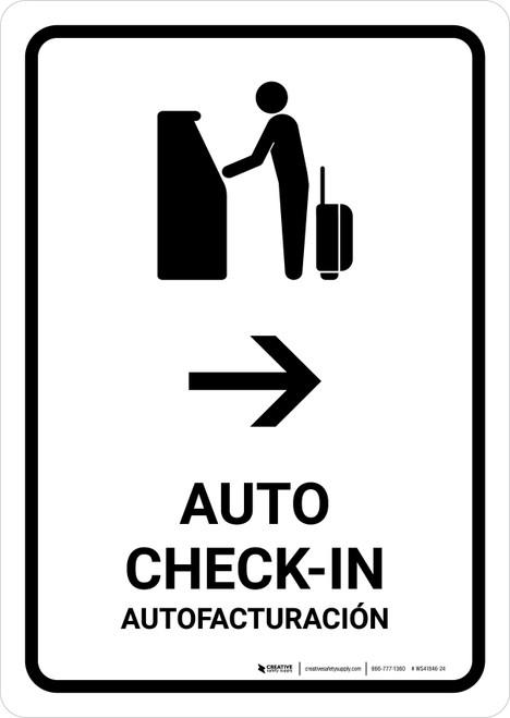 Auto Check In With Right Arrow White Bilingual Portrait - Wall Sign