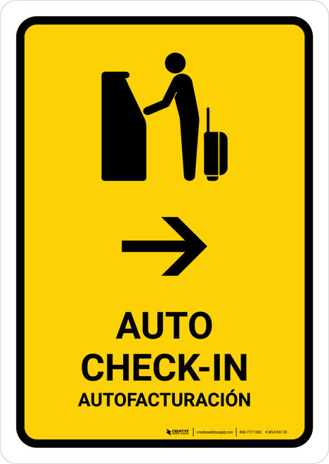 Auto Check In With Right Arrow Yellow Bilingual Portrait - Wall Sign