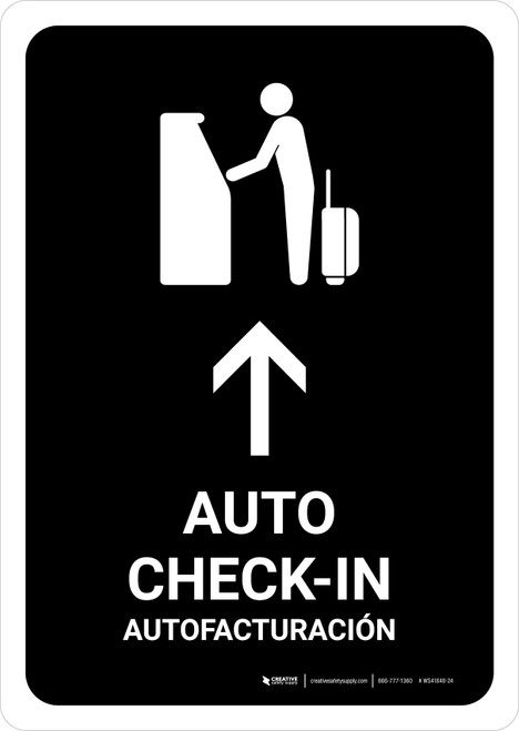 Auto Check In With Up Arrow Black Bilingual Portrait - Wall Sign