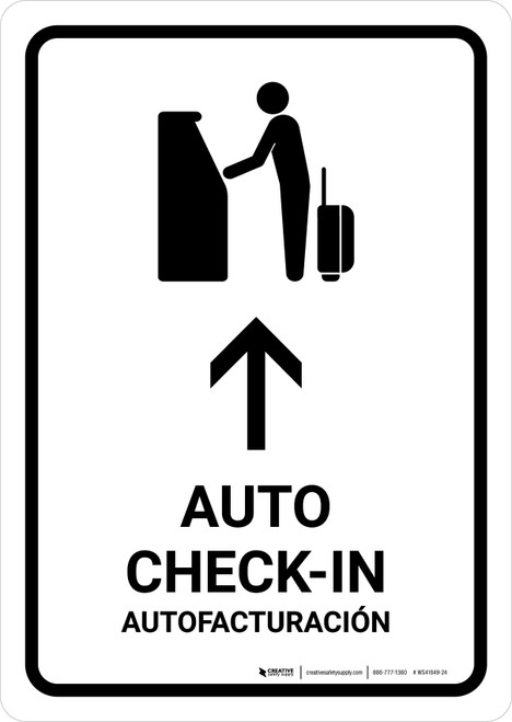 Auto Check In With Up Arrow White Bilingual Portrait - Wall Sign