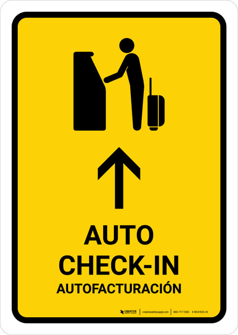 Auto Check In With Up Arrow Yellow Bilingual Portrait - Wall Sign
