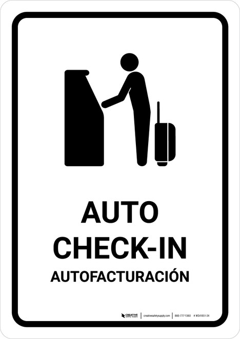 Auto Check In White Bilingual Portrait - Wall Sign