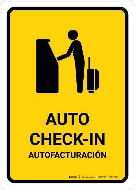 Auto Check In Yellow Bilingual Portrait - Wall Sign