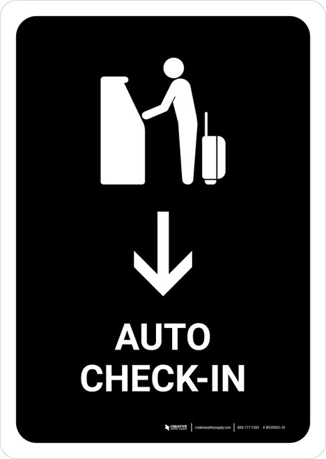 Auto Check In With Down Arrow Black Portrait - Wall Sign