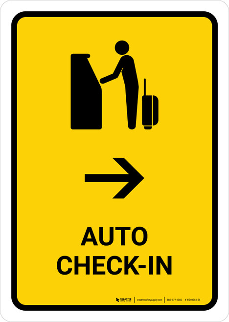 Auto Check In With Right Arrow Yellow Portrait - Wall Sign