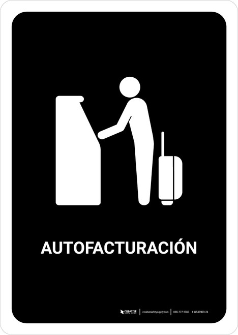 Auto Check In Black Spanish Portrait - Wall Sign