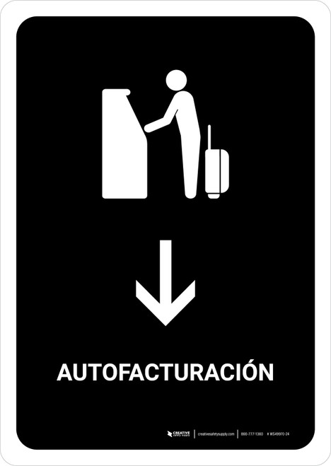 Auto Check In With Down Arrow Black Spanish Portrait - Wall Sign