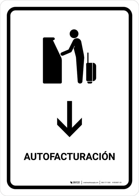 Auto Check In With Down Arrow White Spanish Portrait - Wall Sign