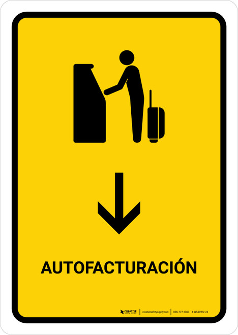 Auto Check In With Down Arrow Yellow Spanish Portrait - Wall Sign