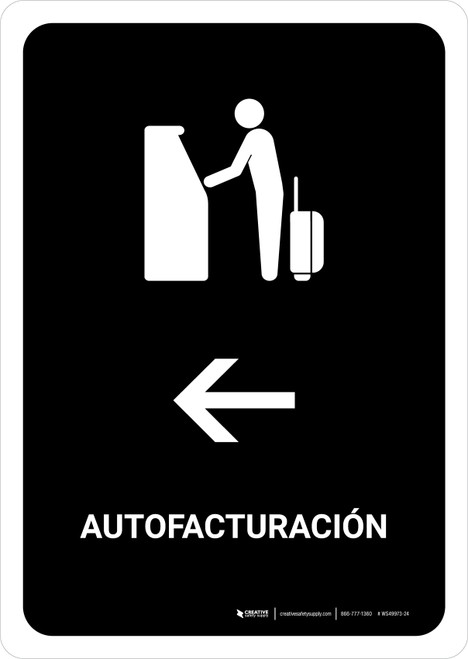 Auto Check In With Left Arrow Black Spanish Portrait - Wall Sign
