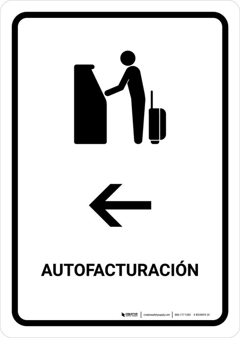 Auto Check In With Left Arrow White Spanish Portrait - Wall Sign