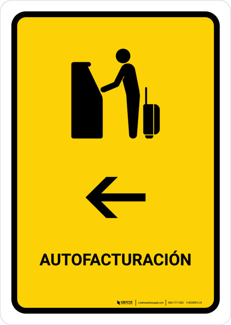 Auto Check In With Left Arrow Yellow Spanish Portrait - Wall Sign