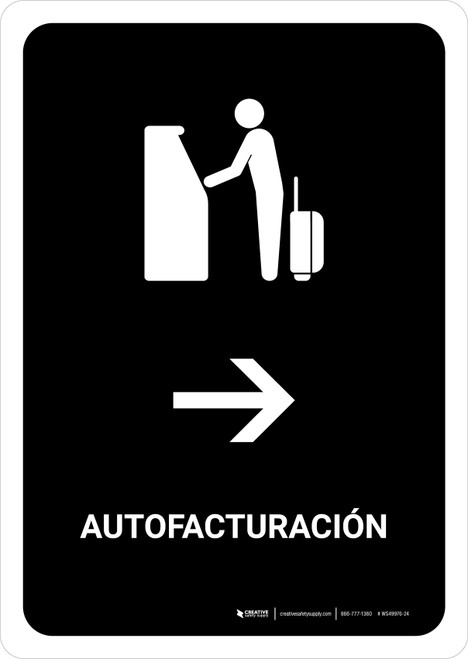 Auto Check In With Right Arrow Black Spanish Portrait - Wall Sign