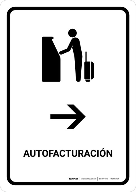 Auto Check In With Right Arrow White Spanish Portrait - Wall Sign