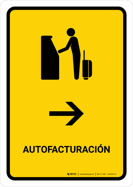 Auto Check In With Right Arrow Yellow Spanish Portrait - Wall Sign