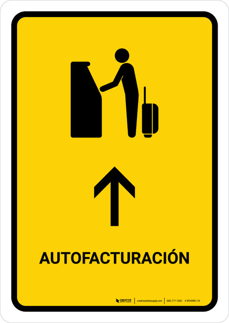 Auto Check In With Up Arrow Yellow Spanish Portrait - Wall Sign