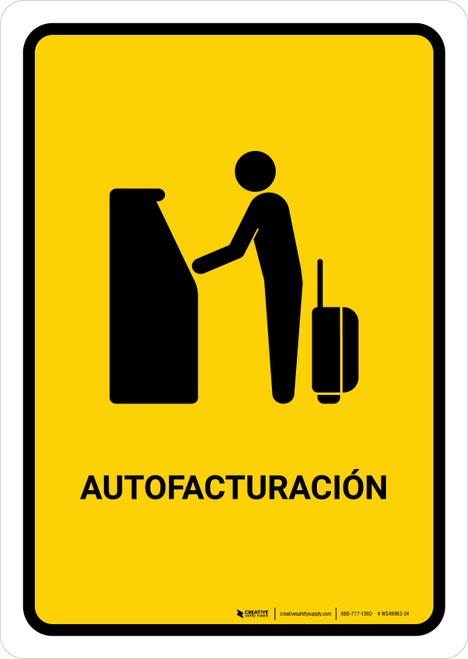 Auto Check In Yellow Spanish Portrait - Wall Sign