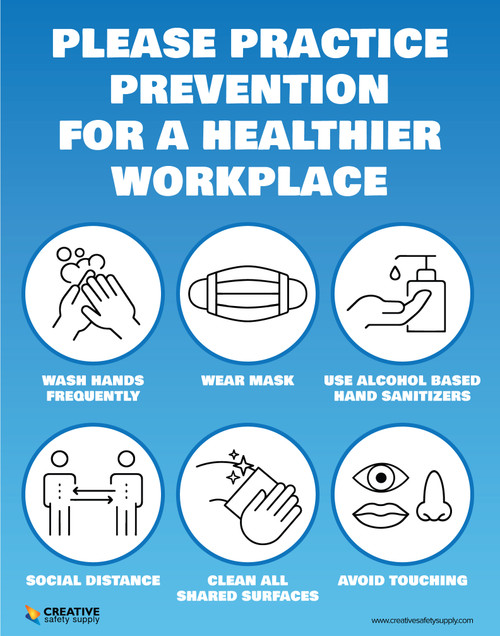 Practice Prevention for Healthier Workplace Covid-19 - Poster