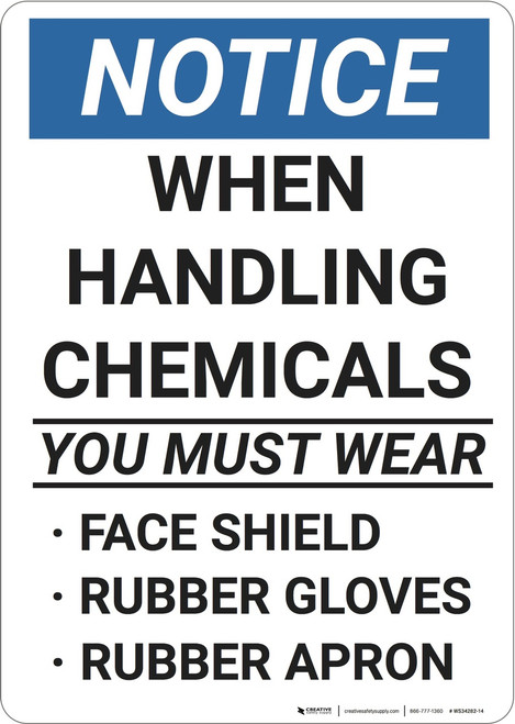 Notice: Portrait Ppe Chemicals Shield Gloves Apron - Wall Sign