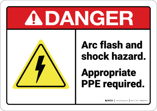 Danger: Arc Flash And Shock Hazard Ppe Required ANSI - Wall Sign
