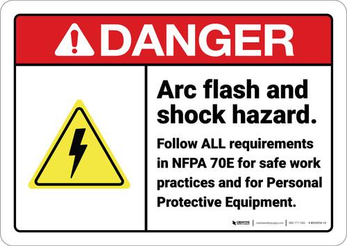 Danger: Arc Flash Shock Hazard Follow All Requirements ANSI - Wall Sign