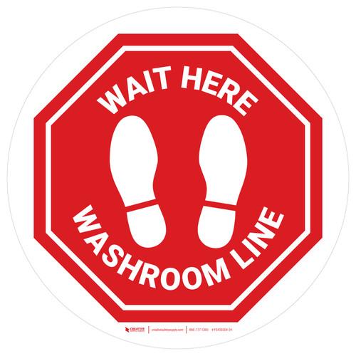 Stop - Wait Here - Washroom Line White Circle - Floor Sign