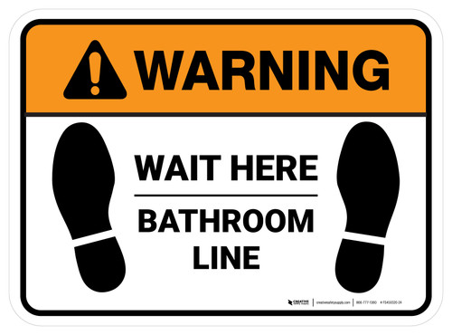 Warning: Wait Here - Bathroom Line Rectangle - Floor Sign