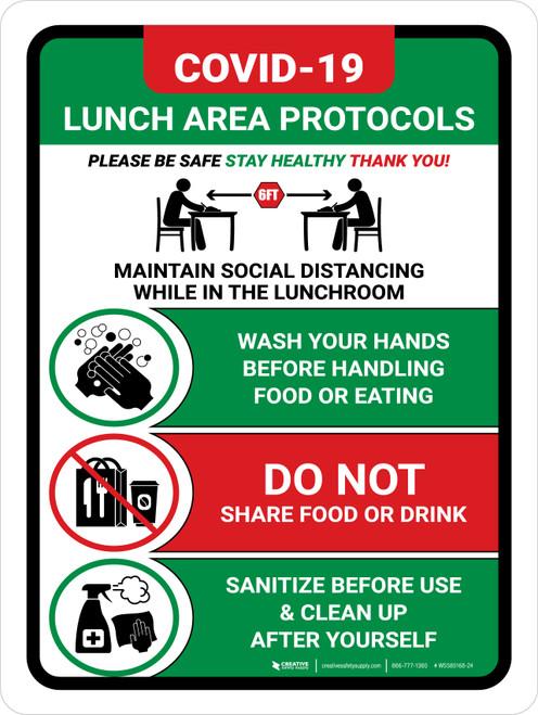 Covid-19 Lunch Area Protocols Green Portrait - Wall Sign