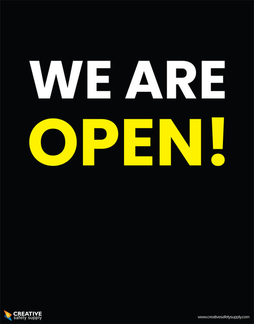 We Are Open! (Black/White/Yellow) - Poster