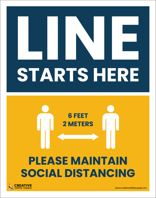Line Starts Here – Please Maintain Social Distancing (6 Feet 2 Meters) - Poster