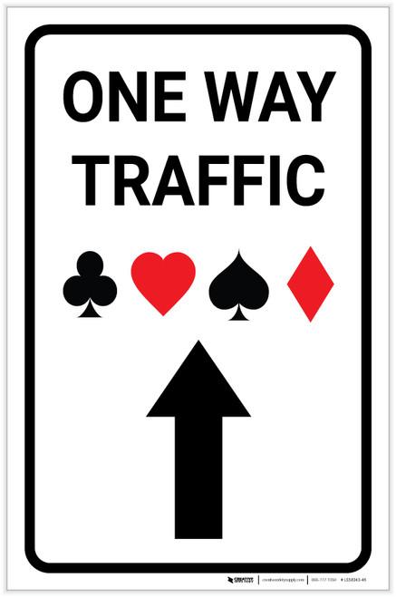 Casino - One Way Traffic with Arrow Up Portrait - Label