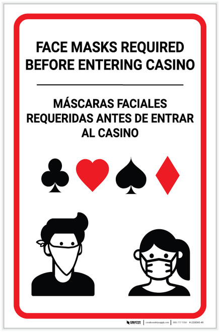 Face Masks Required Before Entering Casino Bilingual Spanish Portrait - Label