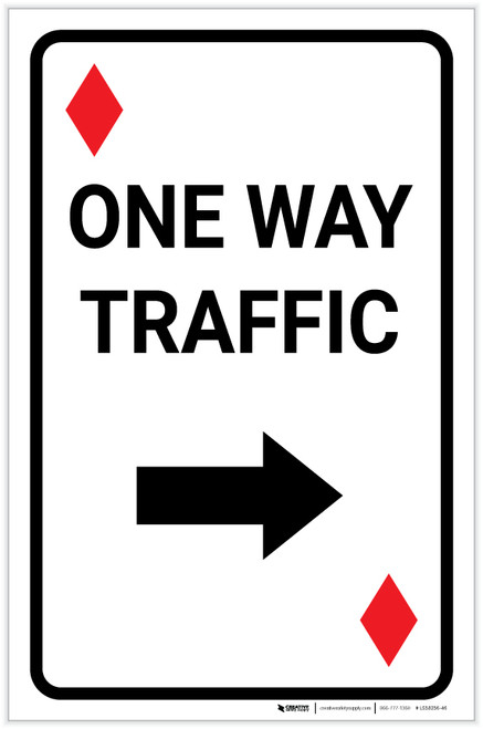 Casino - One Way Traffic Diamond Playing Card with Arrow Right Portrait - Label